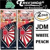 2 Pack Wakaba Young Leaf YLWP93 Japan Tree Frog Peach Scents JDM Air Freshener, White Peach