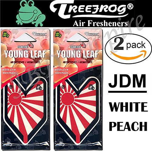 2 Pack Wakaba Young Leaf YLWP93 Japan Tree Frog Peach Scents JDM Air Freshener, White Peach