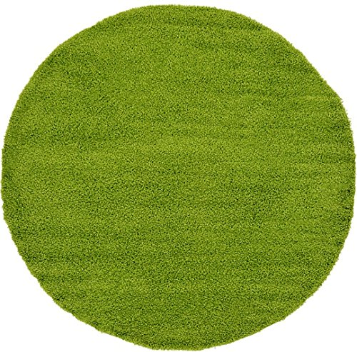 Unique Loom Solid Shag Collection Grass Green 8 ft Round Area Rug (8' 2