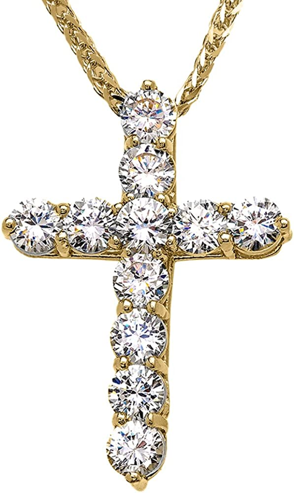 Jewels Obsession Cross Necklace 14K Yellow Gold-plated 925 Silver Glory Cross Pendant with 16 Necklace