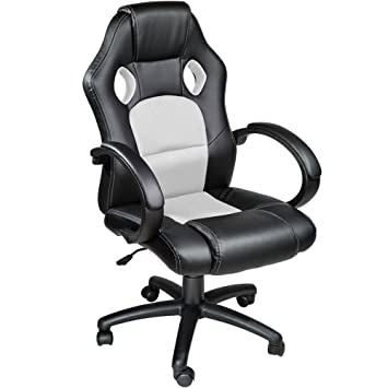 TecTake Silla de escritorio de oficina, Racing - disponible en diferentes colores (Blanco): Amazon.es: Hogar