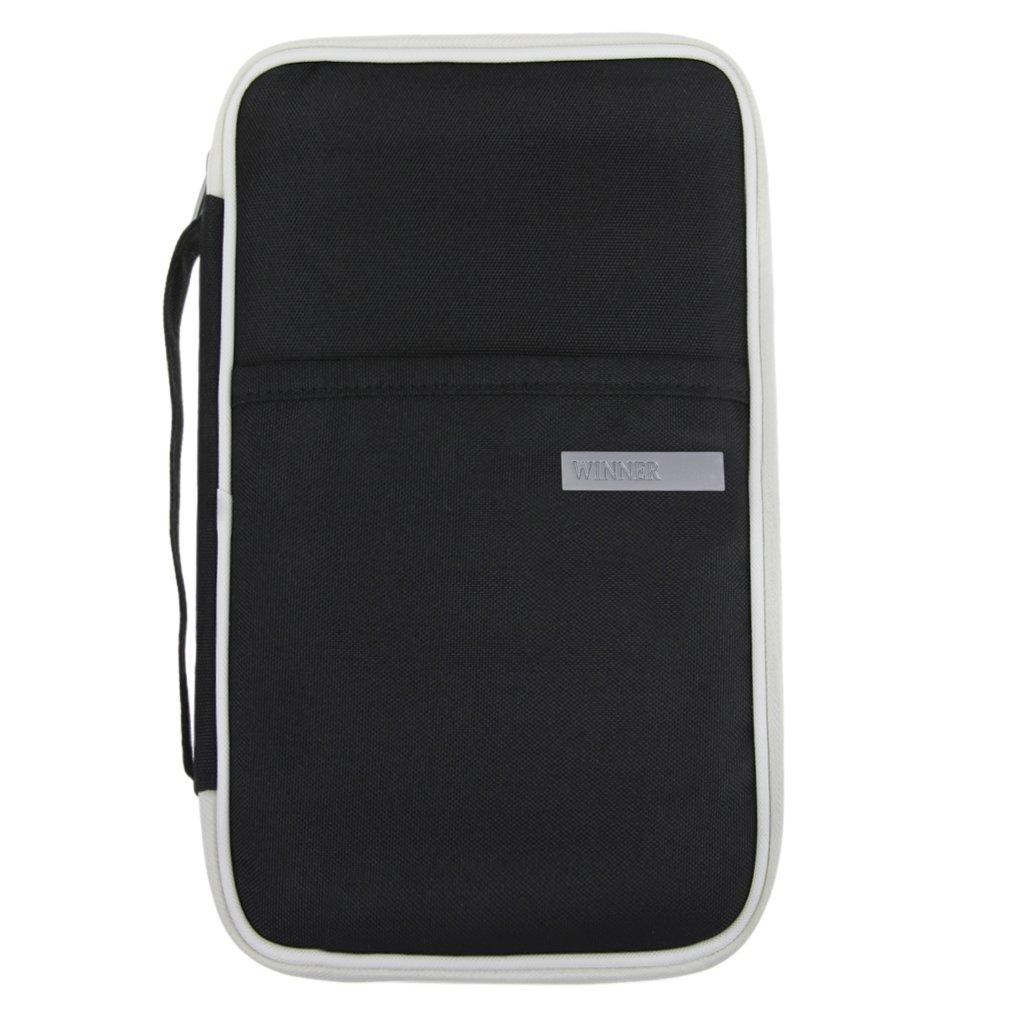 Multifunktionale Reisepasstasche Dokumententasche Reiseorganizer Reisebrieftasche Handtasche mit Reißverschluss für Damen und Herren, Grau, 22*12CM BXT