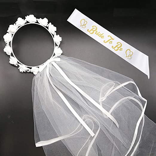 BigLion 2 Piezas Novia a Ser Accessories,Bride to be Gallina Velo Nupcial Blanco Novia Boda Despedida Soltera Banda Hen Party Sash Hen Do Night ...