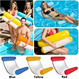 HY-MS Swimming Pool Beach Floating Water Hammock Lounger Inflatable Floating Bed Beach with 1 Inflator Pump (Pink)