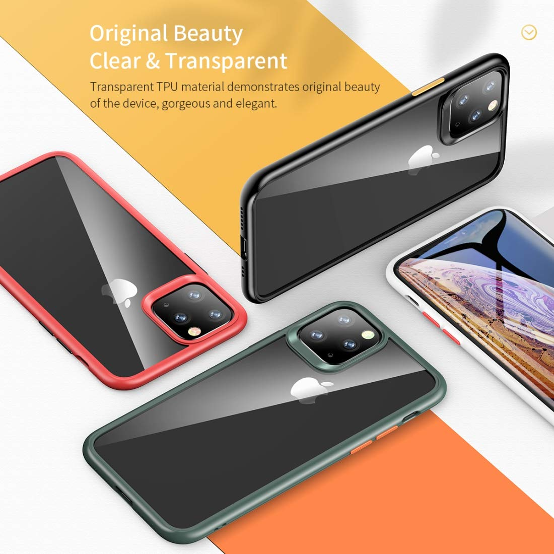 LISHUANG Funda Protectora Guard Pro Series TPU Protector Color : Black 2019 PC a Prueba de Golpes for iPhone XI MAX