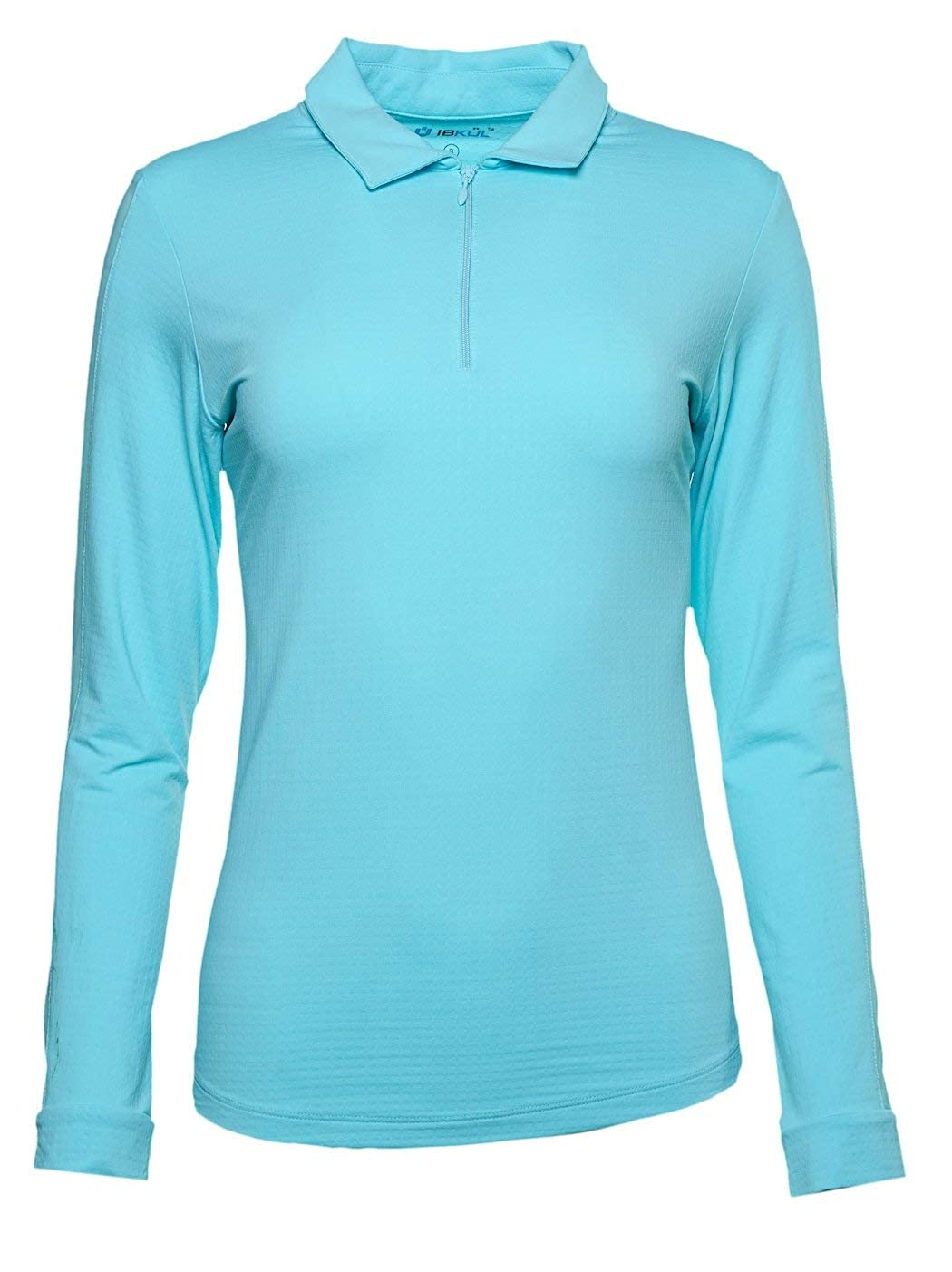 IBKUL Women's Sun Protective UPF 50+ Cooling Solid Long Sleeve Polo (Outer Mesh Panel) - 86000