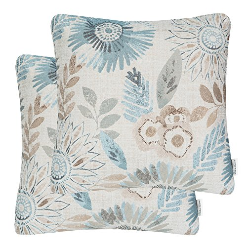 (Mika Home Pack of 2 Decorative Throw Pillows Cases Cushion Cover for Sofa Couch Bed,Sunflower Pattern,20x20 Inches,Blue Cream)