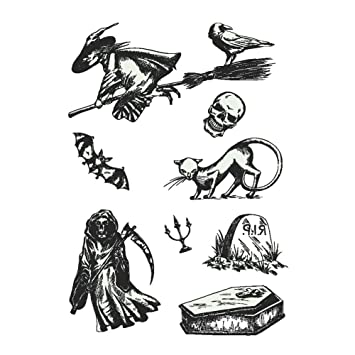mi ji Belleza Tema de Halloween de dibujos animados impermeable temporal luminoso etiqueta engomada del tatuaje que brillan en la oscuridad partido Festival ...