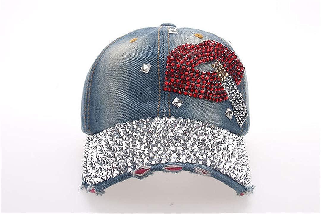 BAIELFES Hat Cap Leisure Lipstick Rhinestones Vintage Jean Cotton Caps Baseball Cap