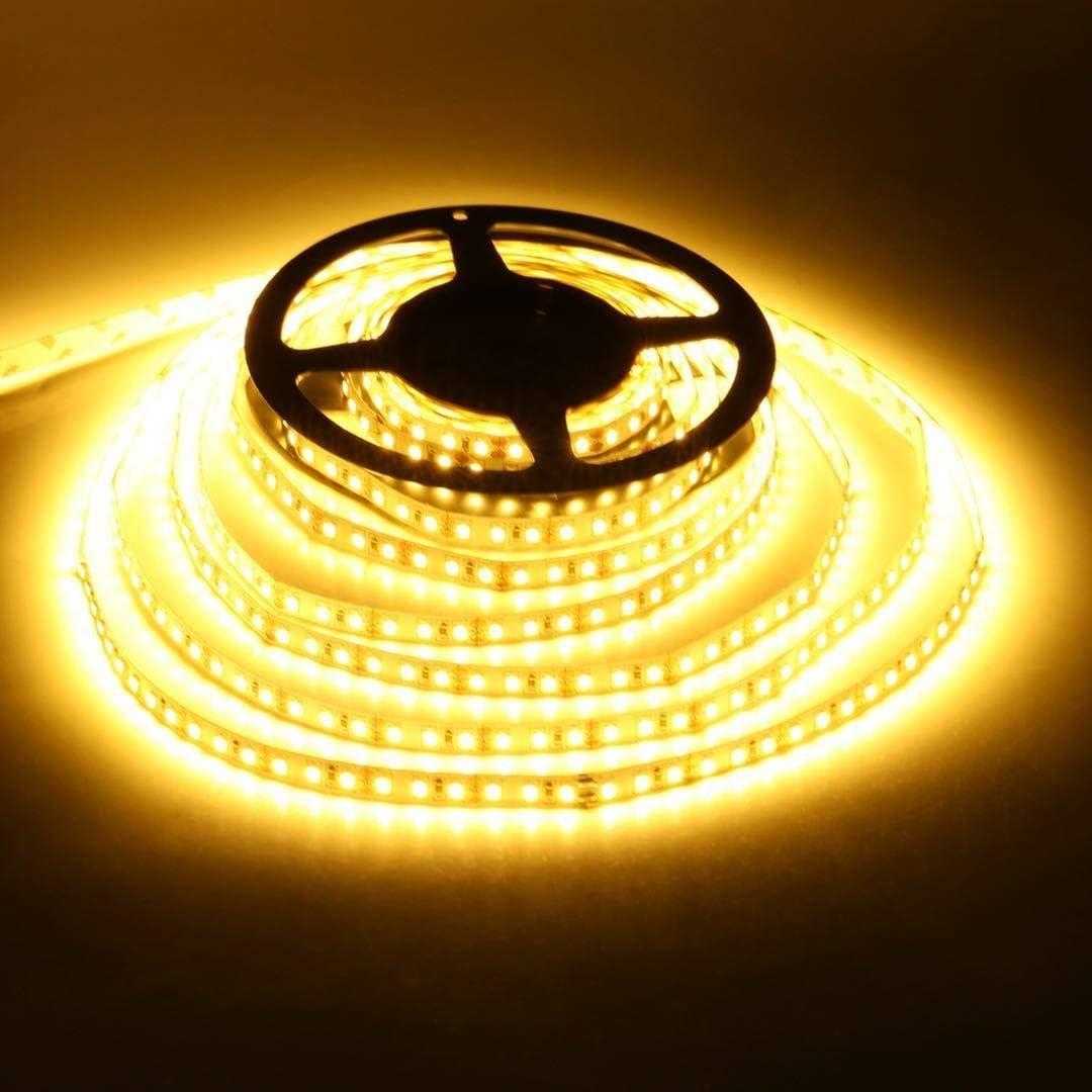 LEDMO Tira de led 2700K Blanco cálido SMD2835 600leds IP20 5M 15LM/LED tira llevada flexible, Kit Completo con fuente de alimentación 12V 5A [Clase de eficiencia energética A+]