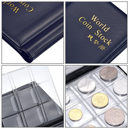 Hotop 120 Pockets Coin Holder Collection Coin Storage Album Book for Collectors, Money Penny Pocket (Blue) Photo #6