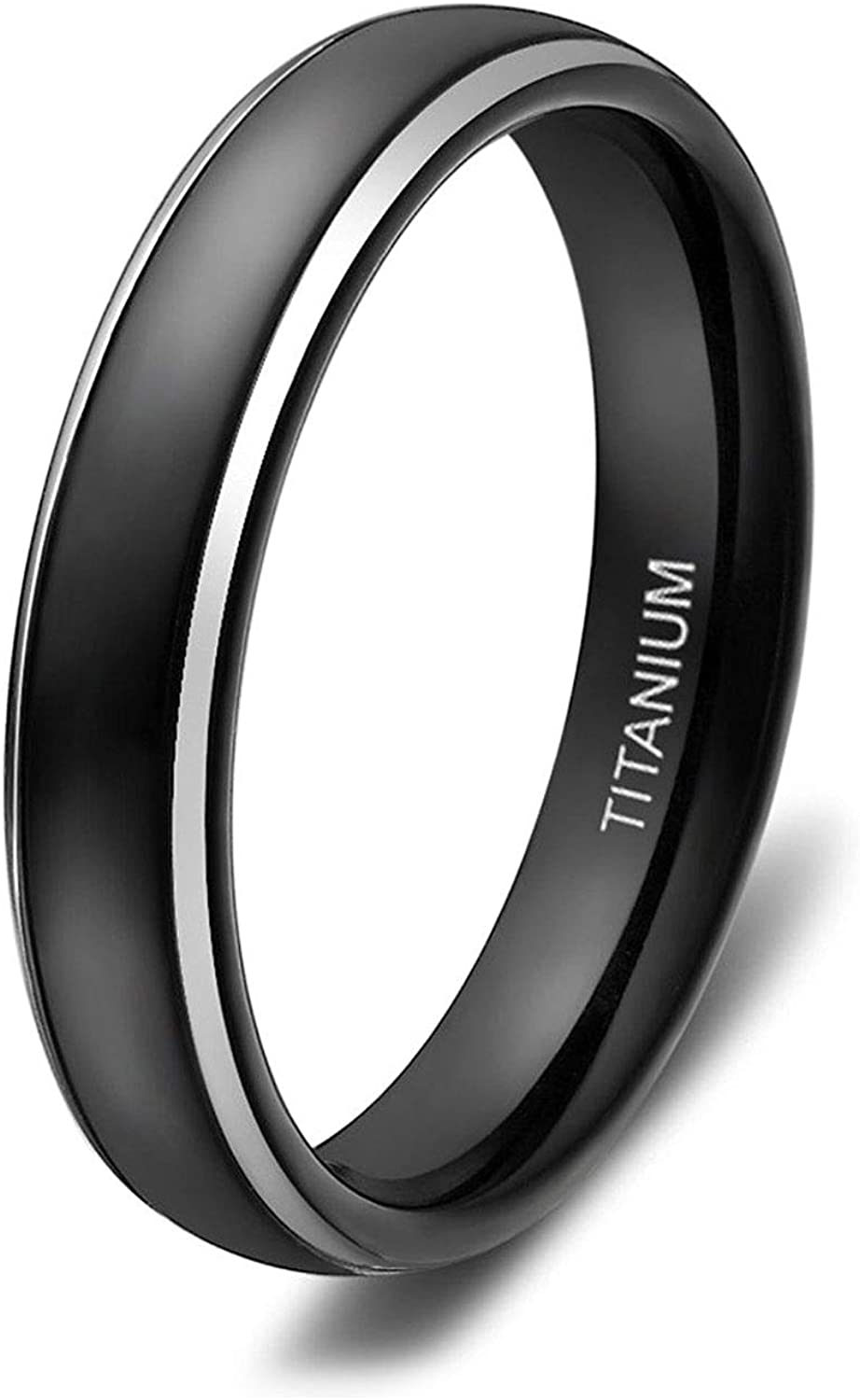 SOMEN TUNGSTEN 4mm 6mm 8mm Titanium Rings for Men Women Black Dome Two Tone Glossy High Polish Wedding Band Size 4-13.5