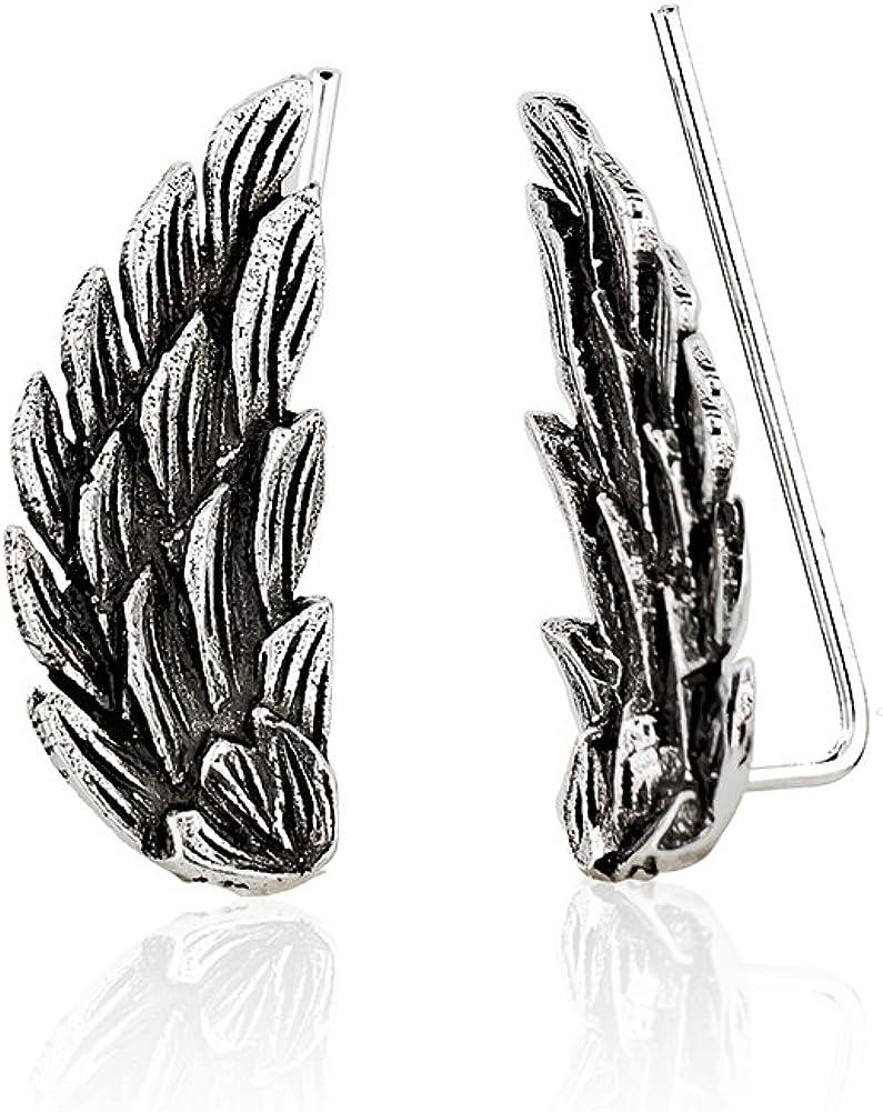 925 Sterling Silver Open Spread Angel Wings No Pierce Ear Pin Climber Vine Earrings, Set of Two (2)