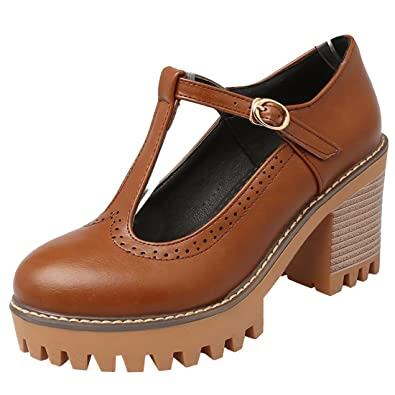 Atyche Damen T-Steg Plateau High Heels Pumps mit Schnalle und Blockabsatz Riemchen Vintage Schuhe CfRyAp4b
