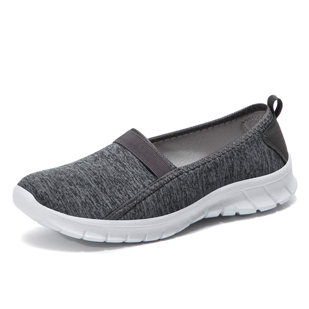 ZYEN Women's Comfortable Walking Shoes Casual Slip On Ladies Lightweight Athletic Sneakers Dark Grey 7 US,7695shenhuiEU38