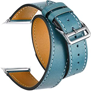Valkit Compatible with Apple Watch Band 38mm 40mm 42mm 44mm, Double Tour Replacement Genuine Leather Strap Women Men Wristband for Apple Watch Series SE/6/5/4/3/2/1,Blue