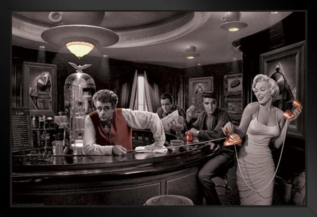 Pyramid America Java Dreams with James Dean Marilyn Monroe Elvis Presley and Humphrey Bogart by Chris Consani Bar Pictures Hollywood Wall Art Print Poster Standing Frame in Black Wood 20x14