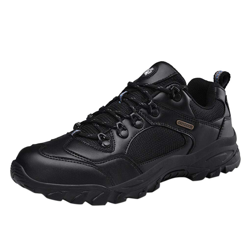 Men Outdoor Sports Hiking Shoes Breathable Climbing Sneakers Athletic Trekking Walking (US:11, Black) by Suoxo Men Shoes