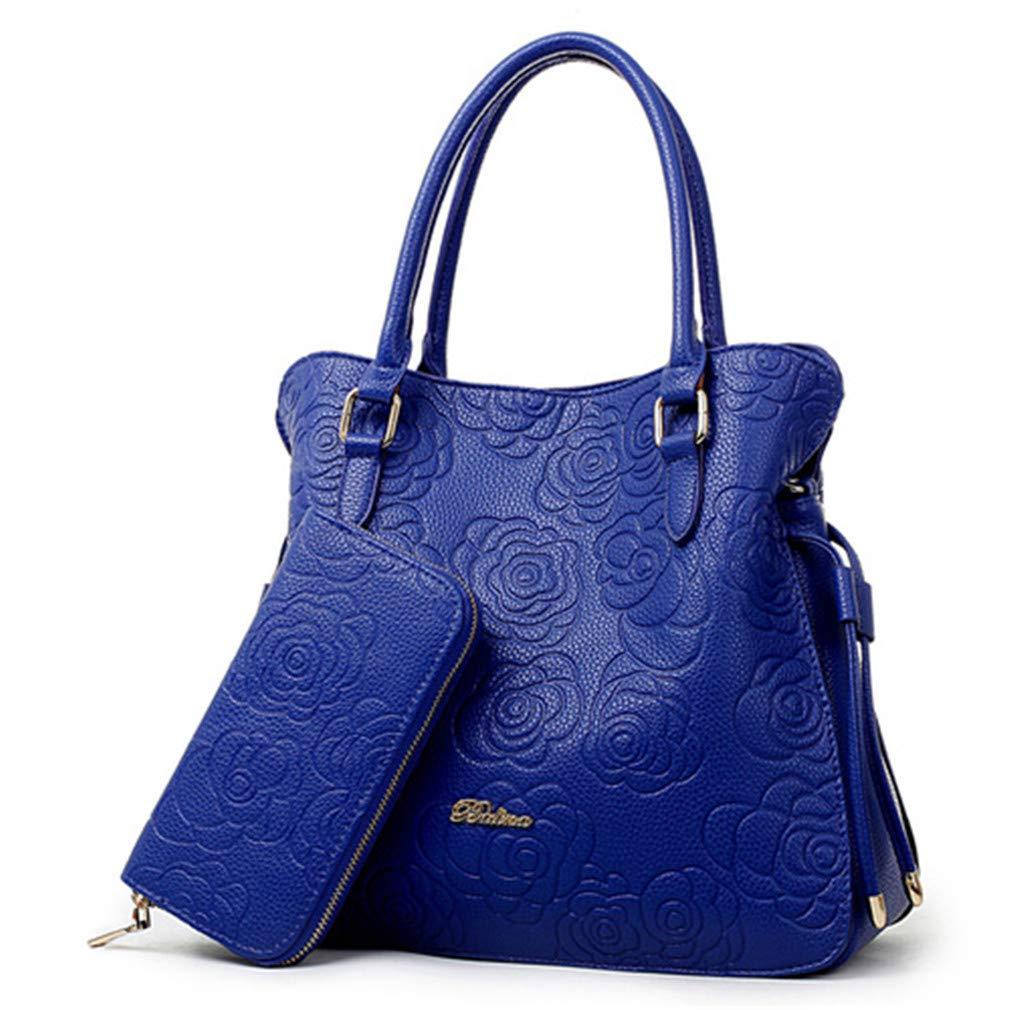 Roserabag Women Purses Handbags Pu Leather Bags Messenger Shoulder Bags Blue 32x13x29cm