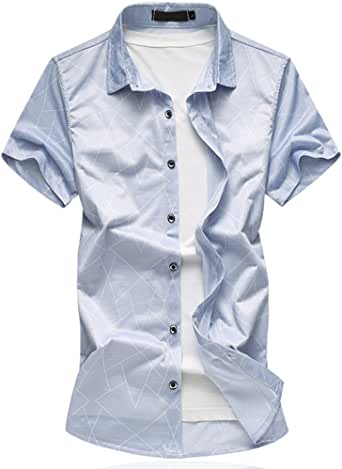 Cloudstyle Men's Cotton slim Fit Thin Short Sleeves Shirt Grey