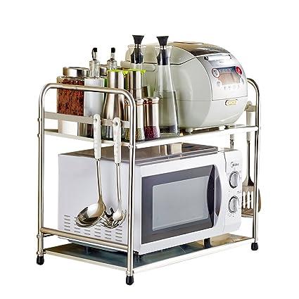 Yuda Estantería para horno microondas, fabricada con acero inoxidable, incluye dos estantes