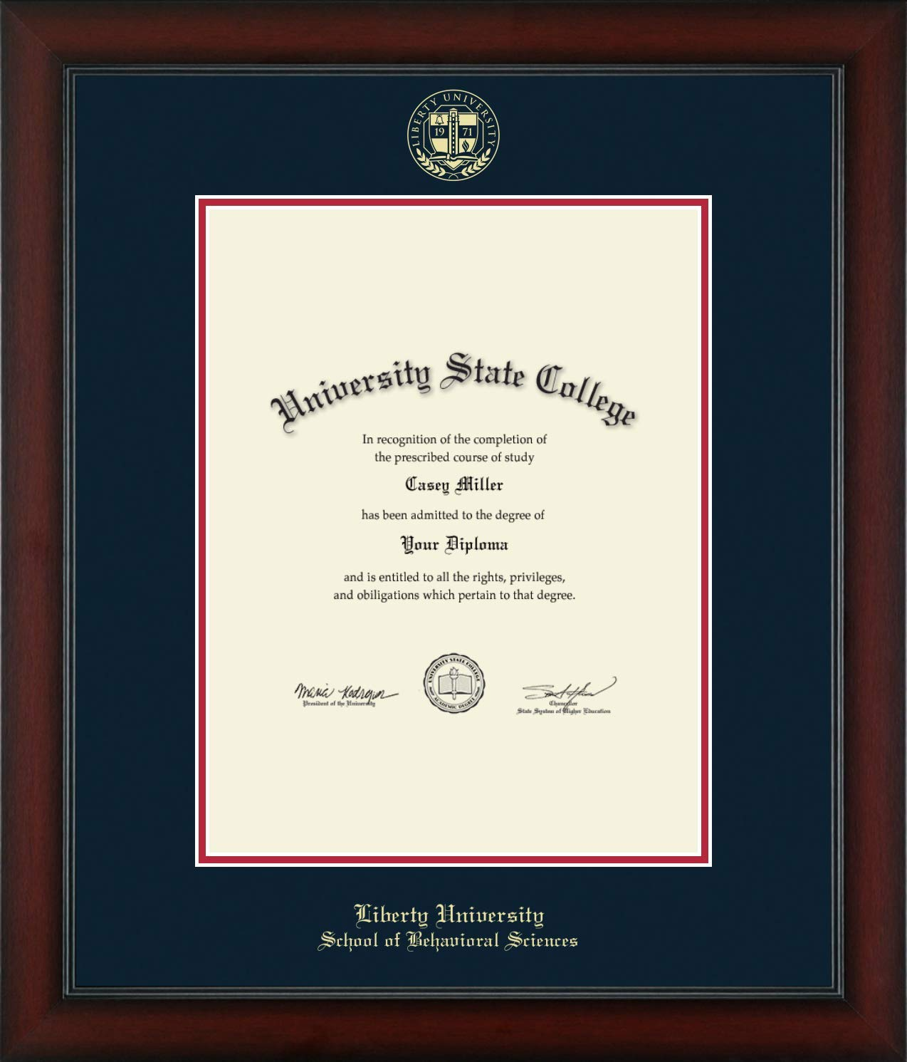 Liberty University School of Behavioral Sciences - Officially Licensed - Gold Embossed Diploma Frame - Diploma Size 13'' x 17''