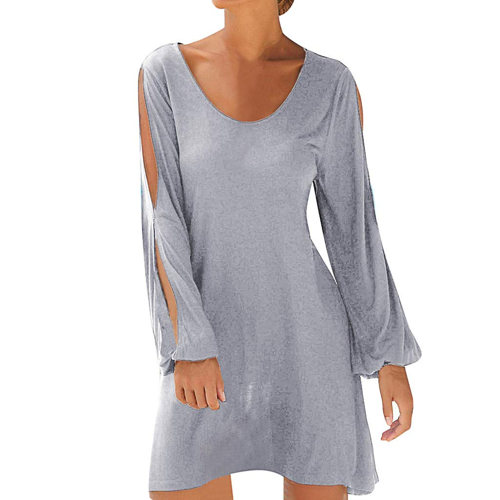 Womens Shift Dress, Cute Soft Casual Scoop Neck Long Sleeves Cold Shoulder Cutout Tunic (XL, Gray)