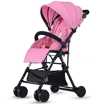 Carro de bebé Niño Cochecitos Cochecito de bebé Ultra-Ligero portátil Puede Sentarse Puede mentir hacia Abajo Doblar Alto Paisaje Baby Carriage Push (Color ...