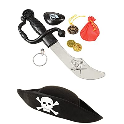 J&J'S TOYSCAPE Pirate Costume Accessory Set (8 Pieces) Costume Pirate Hat, Eye Patch - Perfect for Pretend Play, Theme Party: Toys & Games