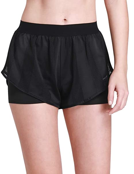 CAMEL CROWN Running Shorts Women 2 in 1 Quick Dry Mesh Dolphin Light Yoga Gym Athletic Shorts with Liner