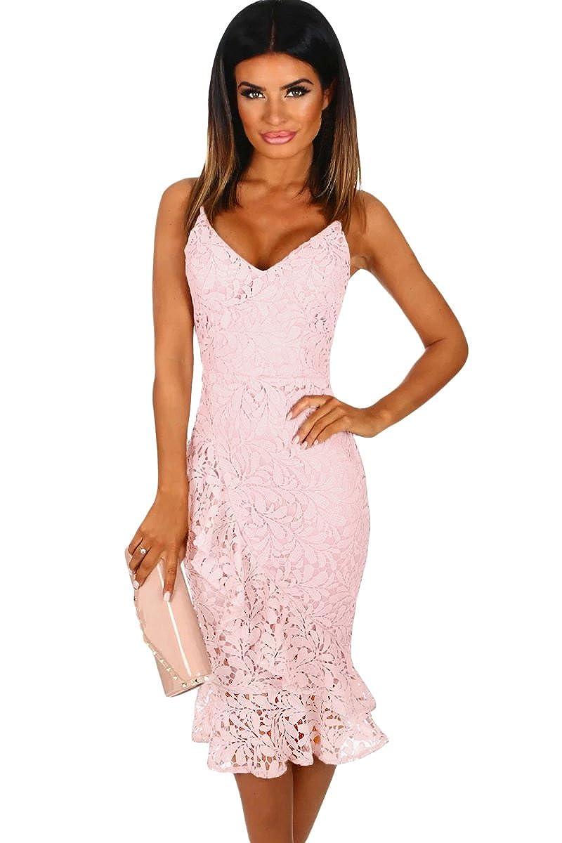 Jj Gogo Pink Midi Dress Women Summer Crochet Frill Midi Mermaid