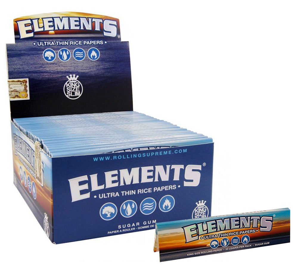 Elements King Size Ultra Thim Slim Rice Rolling Papers - 5 Booklets