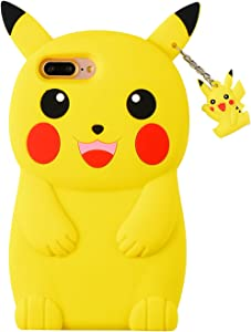 TopSZ Yellow Pikacu Case for iPhone 6/6S,Silicone 3D Cartoon Hero Animal Cover,Kids Girls Teens Boys Man Animated Cool Fun Cute Kawaii Soft Rubber Funny Unique Character Cases for iPhone6/6S 4.7""