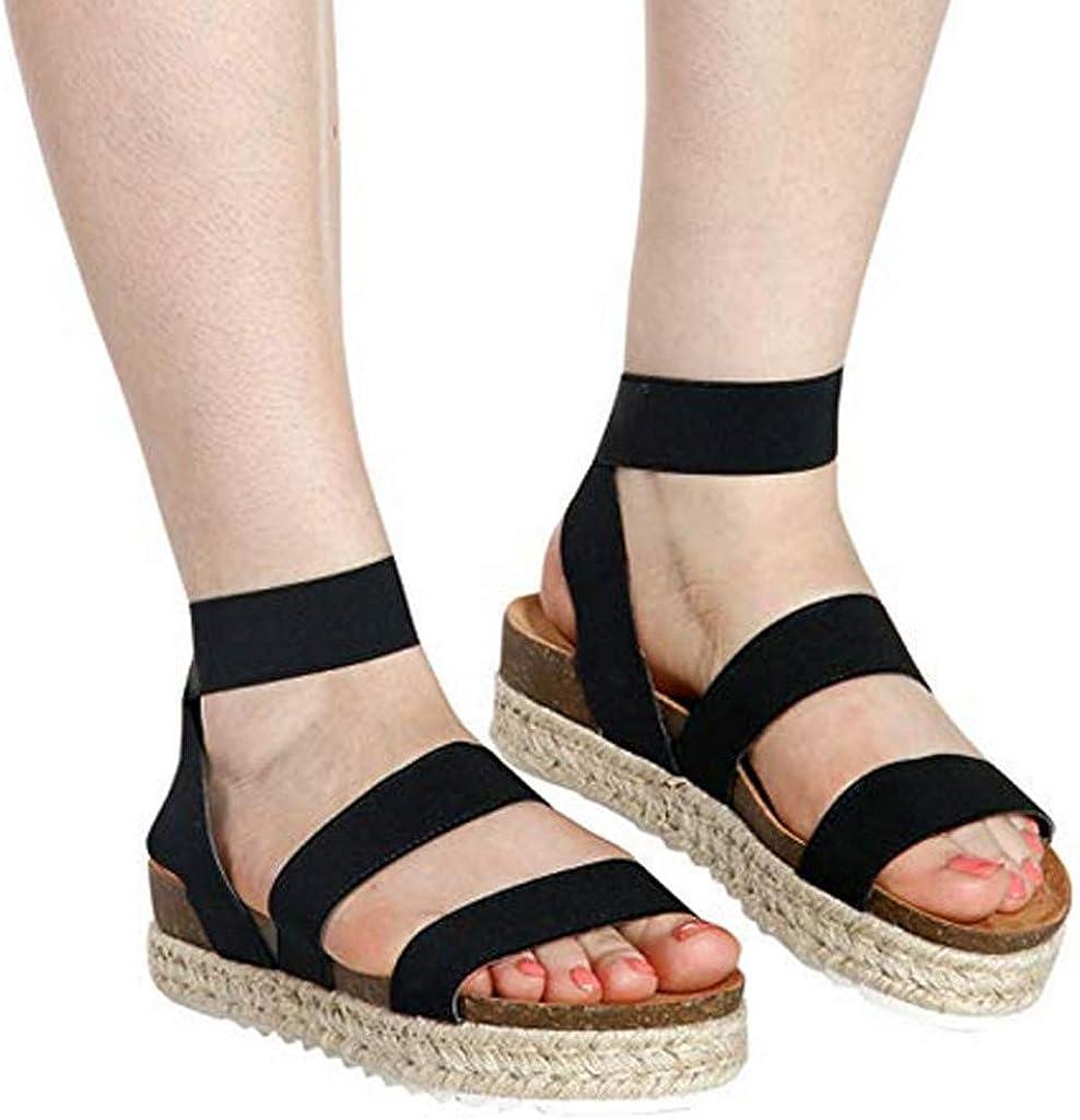 Womens Retro Sandals Ladies Straw Thick Bottom Roman Sandals Start Fingerless Sandals