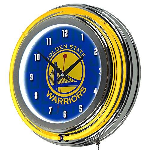 Trademark Gameroom NBA1400-GSW3 NBA Chrome Double Rung Neon Clock - City - Golden State Warriors