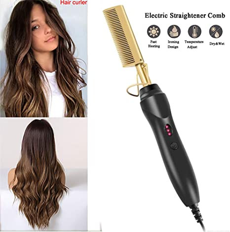 YWJH Ceramic Hot Comb, Electric Hot Comb Straighteners