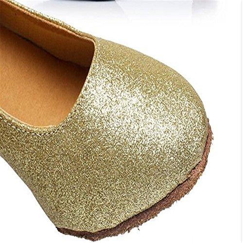 Las Mujeres S Zapatos De Baile Interior Scrub Oro Y Plata Moderno Zapatos De Baile Zapatos De Baile En Solitario Suaves Pieles Adulto Matorral de oro 7cm