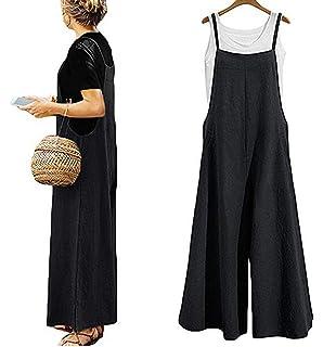 62fa6630761 Yoawdats Women Summer Loose Linen Suspender Overalls Jumpsuit Bib Trousers  Wide Leg Pants Plus Size