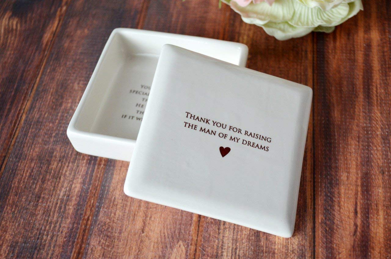 SHIPS FAST - Unique Mother of the Groom Gift or Mother's Day Gift - Square Keepsake Box - Thank you for Raising the Man of My Dreams - comes with a gift box …