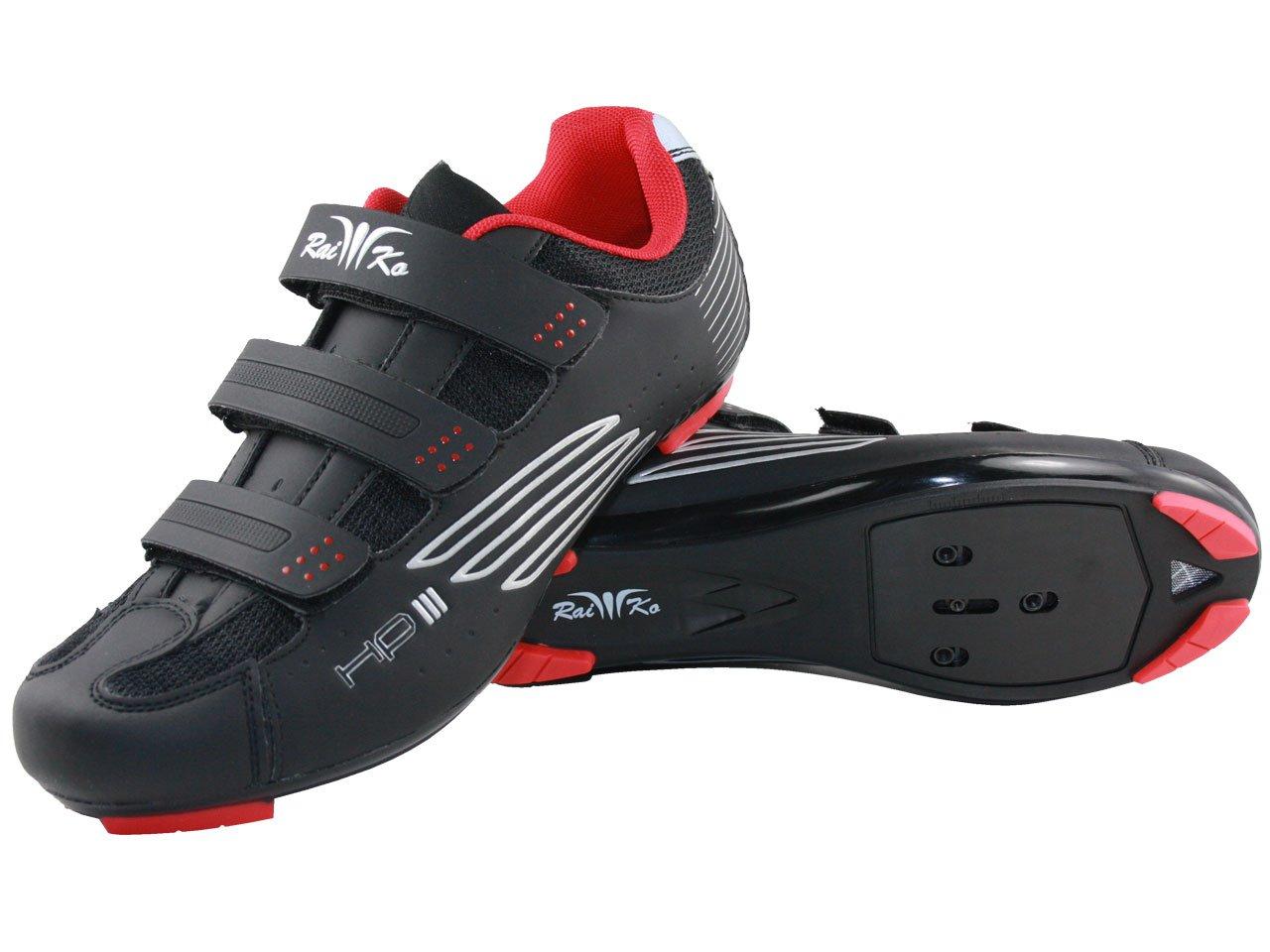 Raiko Sportswear HP3 Fahrradschuhe SPD-SL Look Rennrad Klettverschluss Leder mit Netzeinsätzen Airflow Sohle
