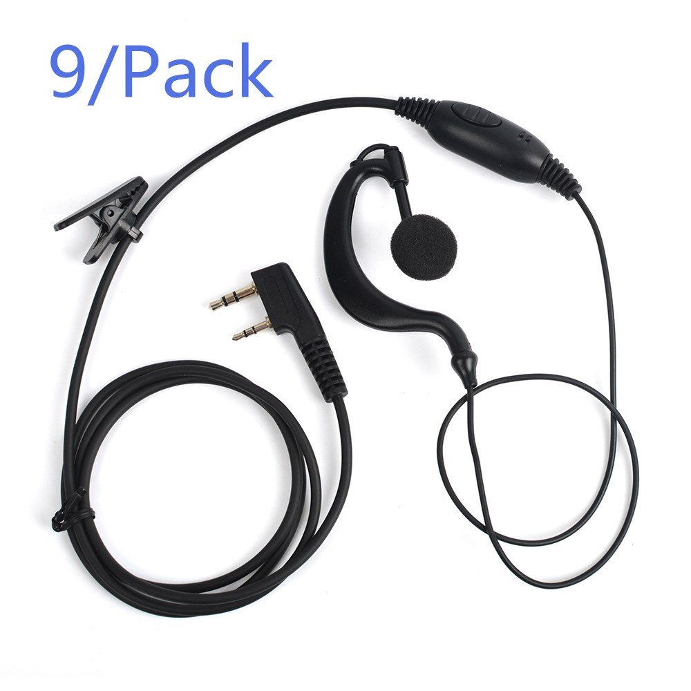 Auriculares C024 2 Pin PTT auriculares para Quansheng PUXING WOUXUN TYT BAOFENG UV5R 888S Kenwood HYT Radio Pack de 9