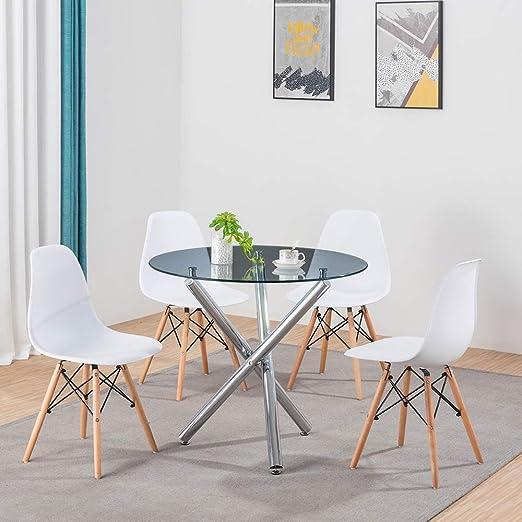 Juego de Mesa y sillas de Comedor de Cristal de volutina, 4 sillas ...