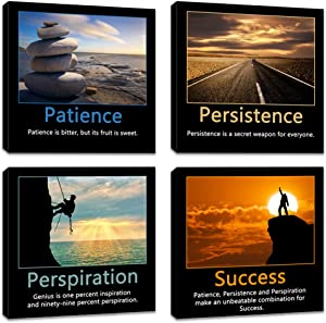 Artsbay 4 Piece Motivational Canvas Wall Art Inspirational Success Quotes Picture Painting Patience Persistence and Perspiration Poster Print Framed Modern Artwork Office Living Room Bedroom Decor