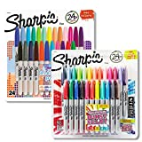 Sharpie Color Burst Permanent Markers, Fine Point, Assorted Colors, 24-Count, With a Pack of 24 Sharpie Electro Pop Permanent Markers, Fine Point