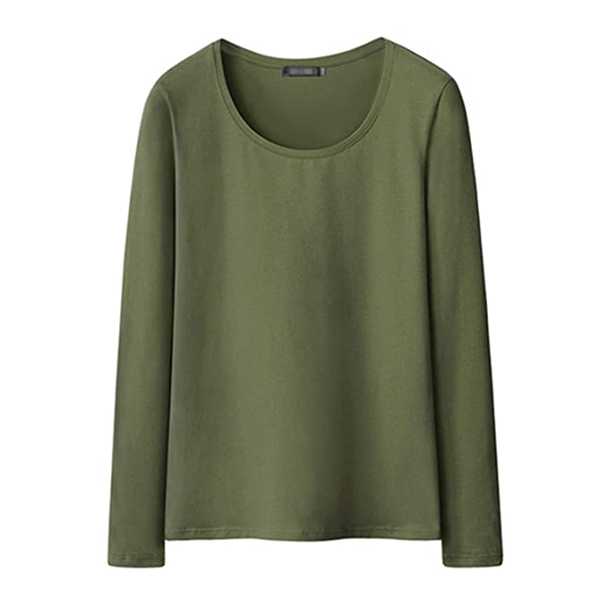 77089652a71a New Women T-Shirts Long Sleeve Undershirt V Neck Pure Color Tees Female  Tops O