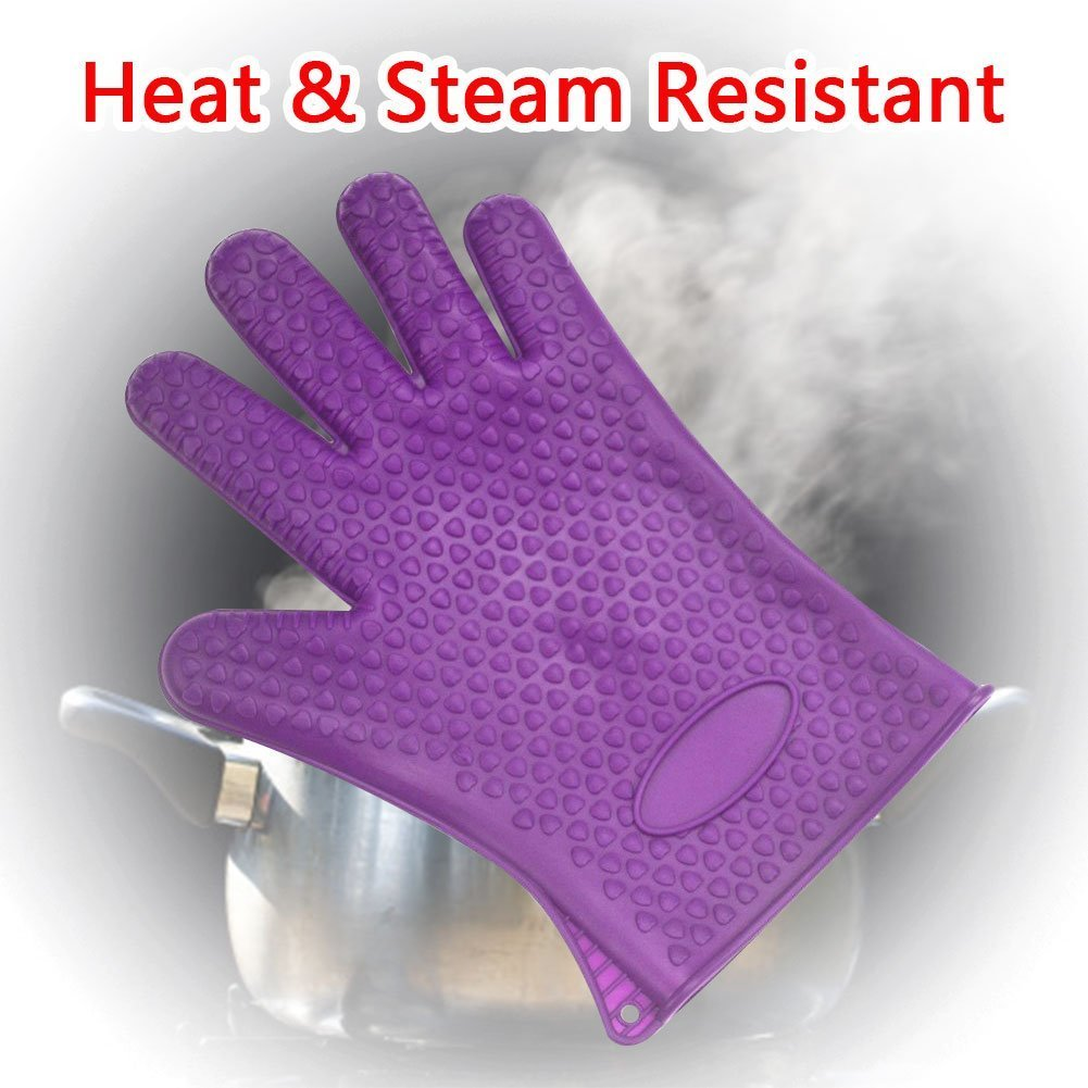 Lictech Heat Resistant BBQ Gloves Pair of Best Silicone Pot Holders and Oven Mitts for Kitchen Cooking Baking Barbecue (Purple)
