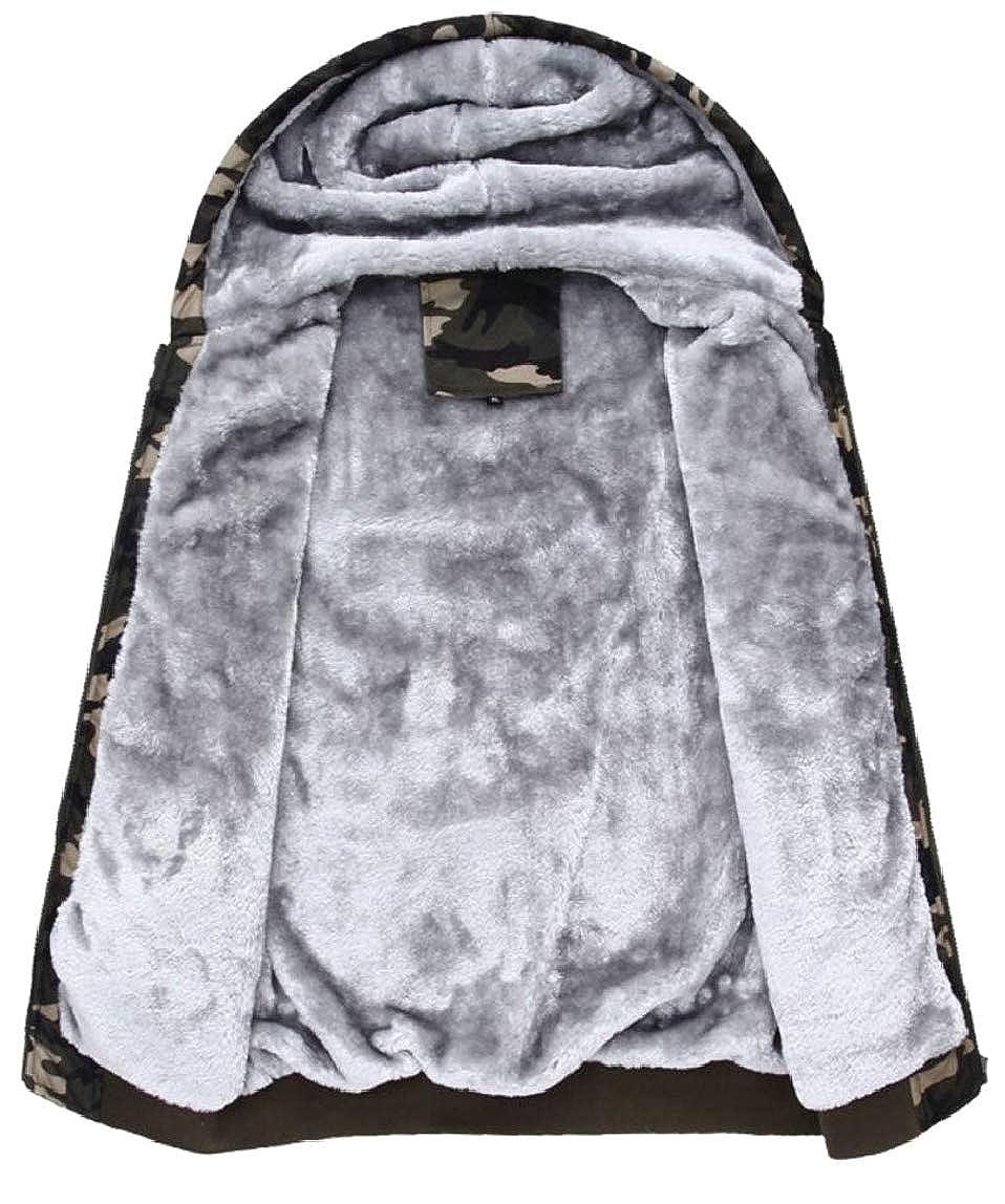 HTOOHTOOH Mens Hoodies Workout Thicken Winter Fleece Camouflage Sweatshirt Jackets