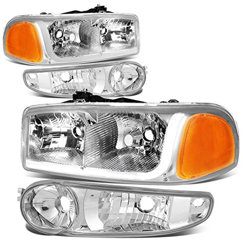 Gmc Yukon Light Bar (GMC Sierra / Yukon Denali LED DRL Light Bar Chrome Housing Clear Lens Headlight+Bumper Lamp)