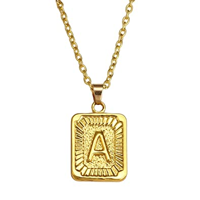 faa540d2f7b AOASK Initial Letter A-Z Square Pendant Gold Plated Charm Necklace for Women  Mens Jewelry (A) | Amazon.com