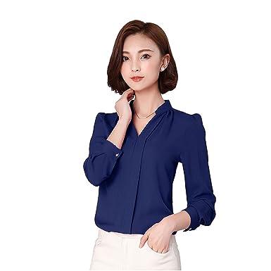 8040cd66f94d1 EFINNY Women Office T-Shirt Uniform OL V Neck Henley Blouse Workwear Tops  at Amazon Women s Clothing store  Alaine Shirt For Women In Fashion Female  Full ...